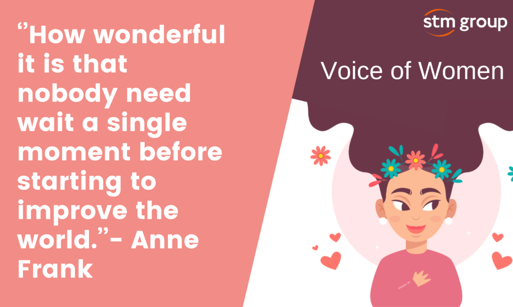 Banner in relation to voice of women with quote ''How wonderful it is that nobody need wait a single moment before starting to improve the world.''